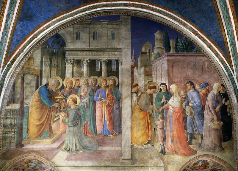 Посвящение святого Стефана в сан дьякона святым Петром и Раздача милостыни святым Стефаном. Фра Анджелико