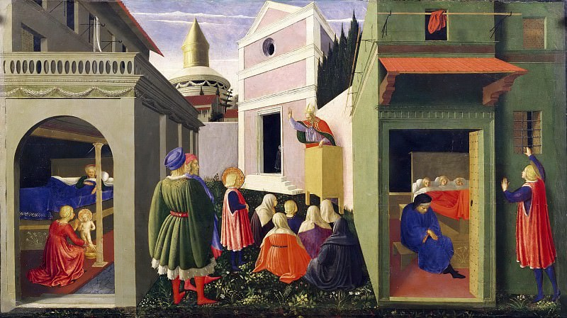 Perugia Altarpiece, predella - The Story of St Nicholas. Fra Angelico