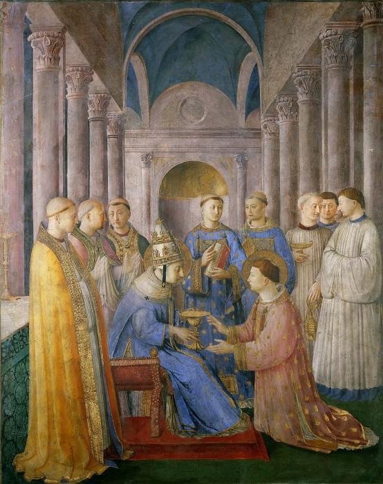 Посвящение святого Лаврентия в сан дьякона Сикстом II. Фра Анджелико
