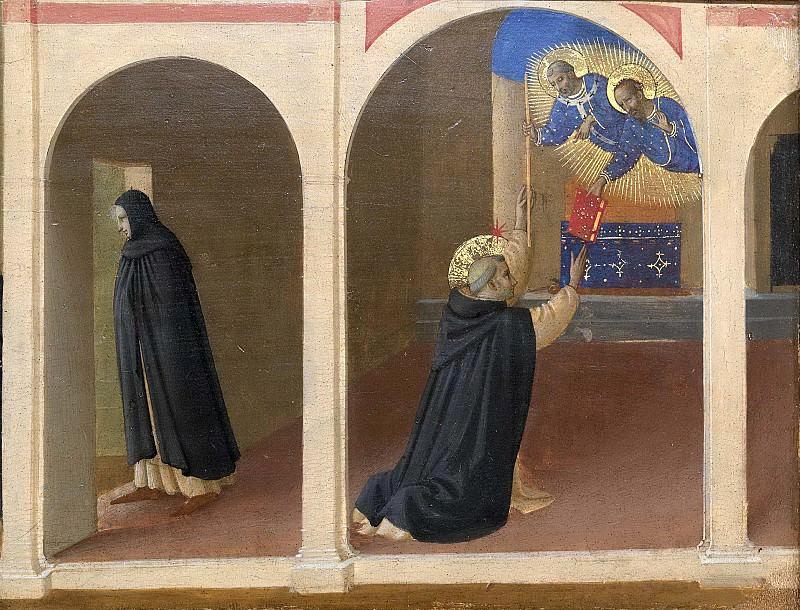 5 Кортонский полиптих, пределла - Получение святым Домиником книги и посоха от апостолов Петра и Павла. Фра Анджелико