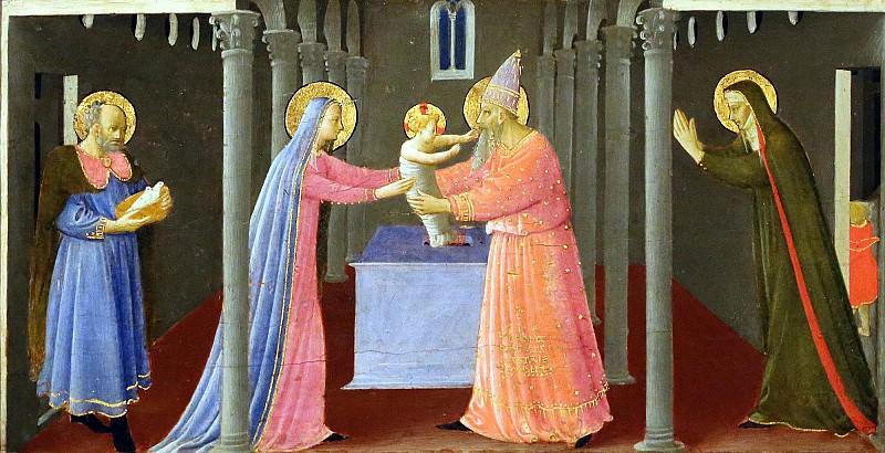 Алтарь Благовещение, пределла - Принесение Христа во храм. Фра Анджелико