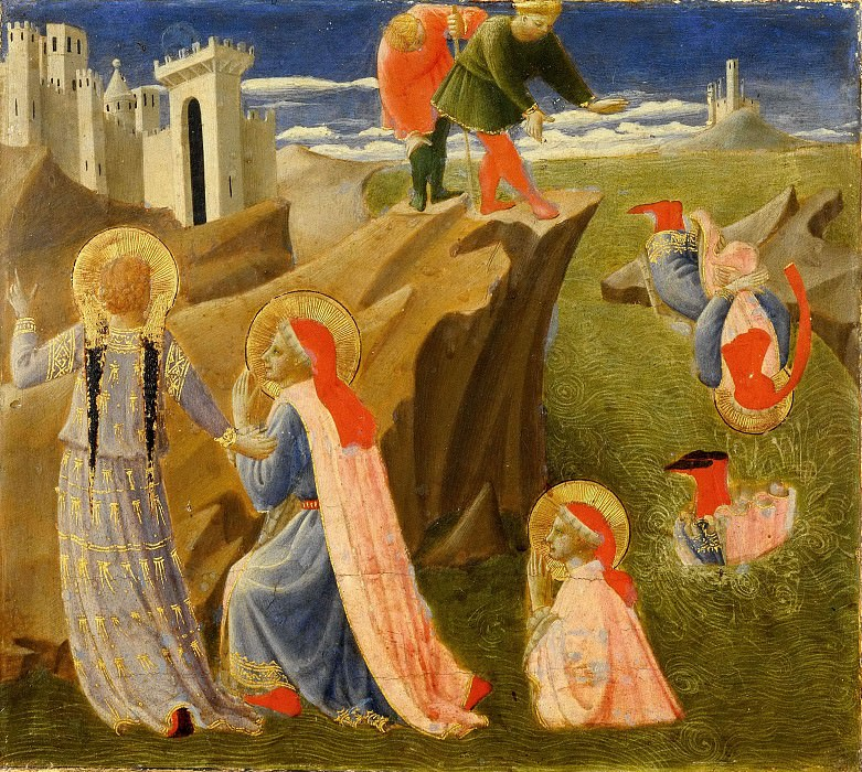 Annalena Altarpiece, predella - Saints Cosmas and Damian, drowning. Fra Angelico