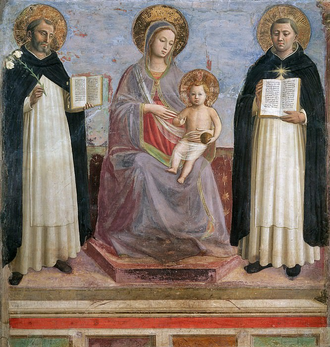 Virgin and Child with Sts Dominic and Thomas Aquinas. Fra Angelico