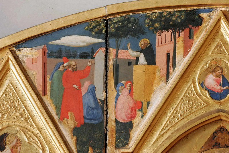 St Peter Martyr Altarpiece, detail - The sermon of St. Peter Martyr. Fra Angelico
