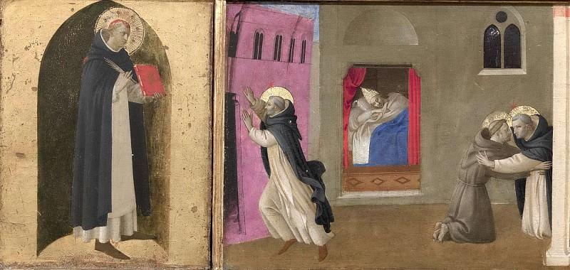 4 Кортонский полиптих, пределла - Святой Петр Мученик, Сон папы Иннокентия III и Встреча святого Доминика со святым Франциском. Фра Анджелико