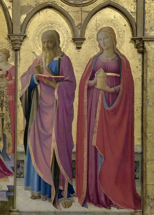3 Кортонский полиптих, фрагмент - Святые Матфей и Мария Магдалина. Фра Анджелико