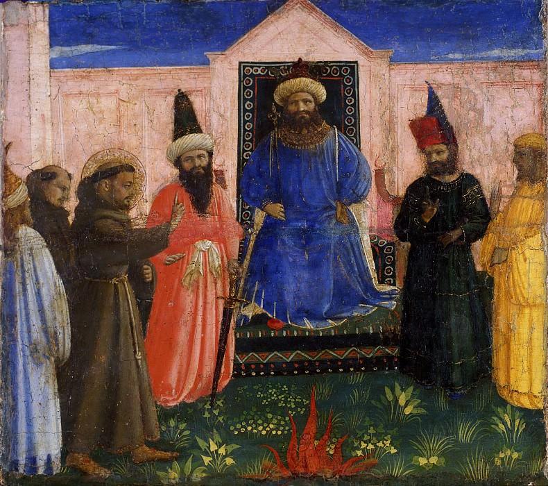 Алтарь Общества Святого Франциска, пределла - Святой Франциск перед султаном (Испытание огнём). Фра Анджелико