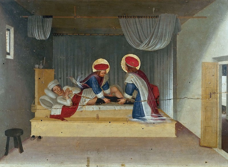 San Marco altarpiece, predella - The Healing of Justinian by Saint Cosmas and Saint Damian. Fra Angelico