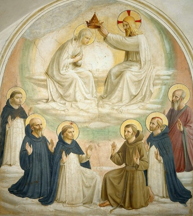 09 The coronation of Mary, Saints Thomas of Aquin, Benedict, Dominic, Francis of Assisi, Peter the Martyr and Mark. Fra Angelico