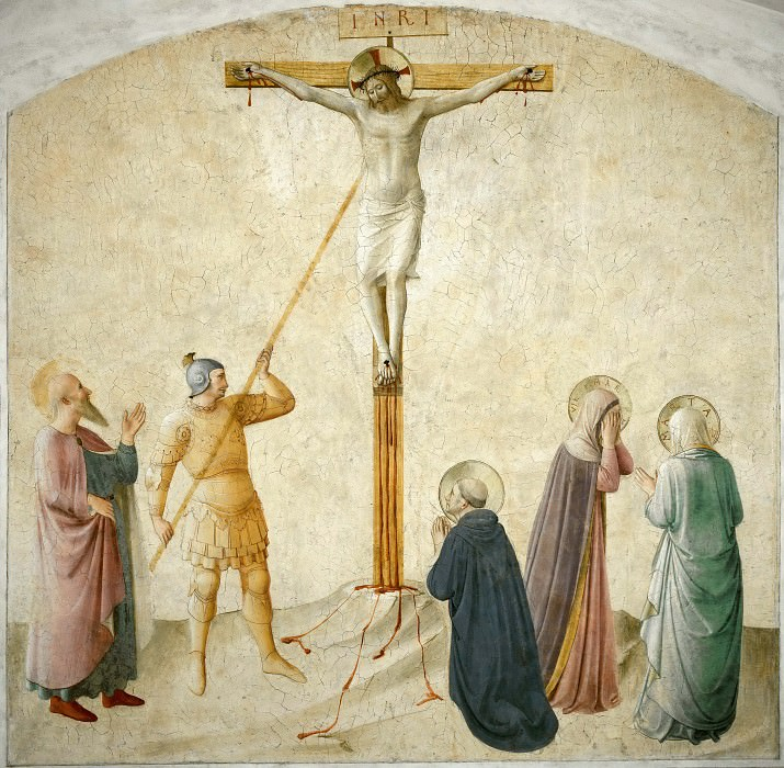 42 Christ on the cross, w. Mary, Longinus a. Saints Dominic, Mark and Martha. Fra Angelico