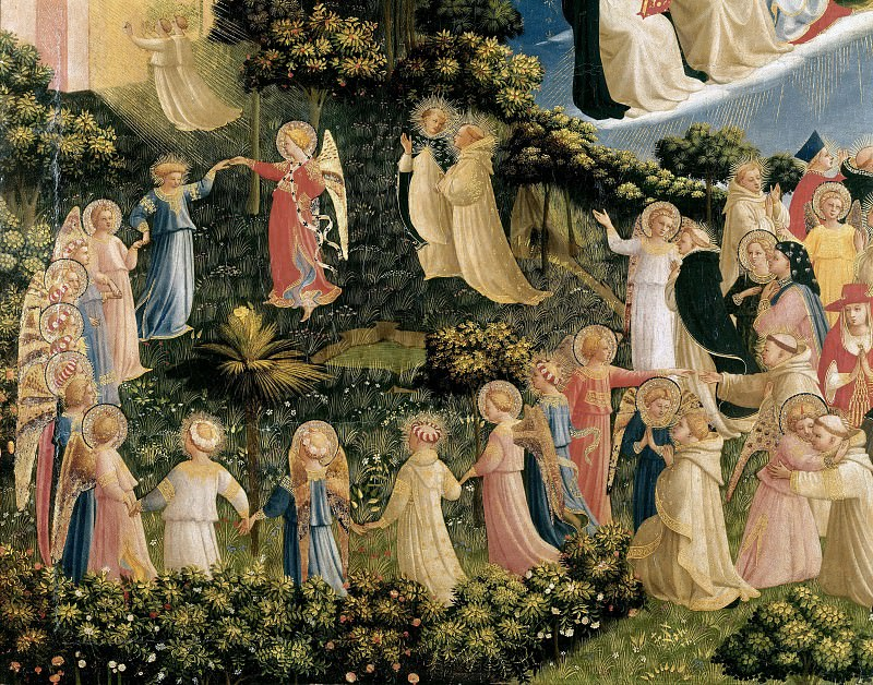 The Last Judgement, detail - The dance of the beatified. Fra Angelico