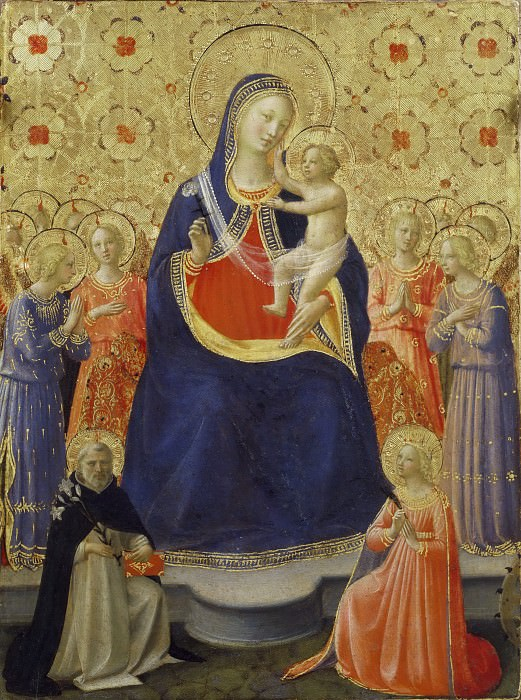 Madonna and Child Enthroned with Nine Angels and Saints Dominic and Catherine of Alexandria. Fra Angelico