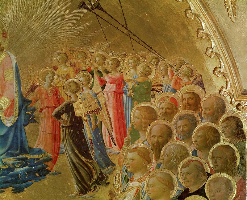 Coronation of the Virgin, detail - Angels and saints. Fra Angelico