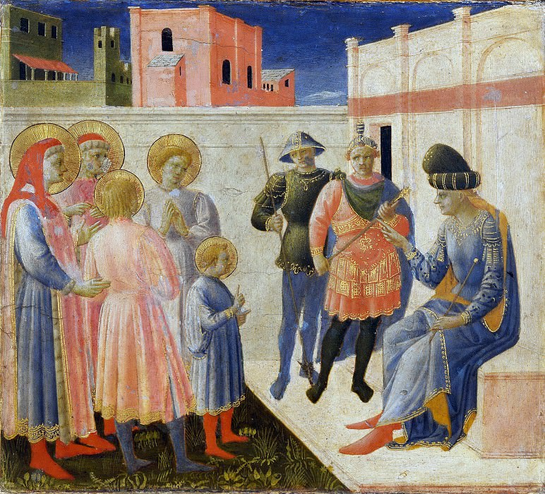 Annalena Altarpiece, predella - Saints Cosmas and Damian Before Lysias. Fra Angelico