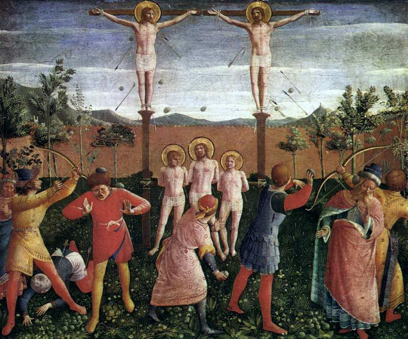 San Marco altarpiece, predella - Saint Cosmas and Saint Damian Crucifixed and Stoned. Fra Angelico