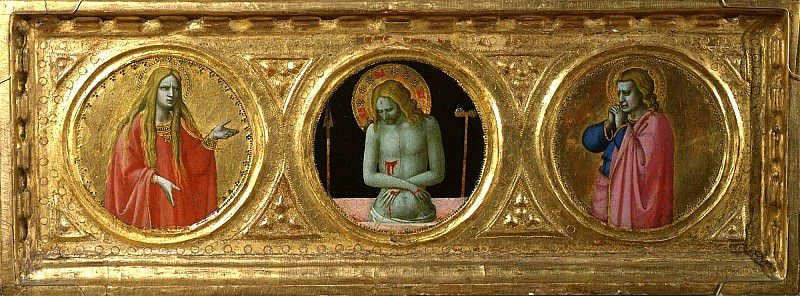 St Peter Martyr Altarpiece, predella - Man of Sorrows with saints Mary Magdalene and John the Evangelist. Fra Angelico