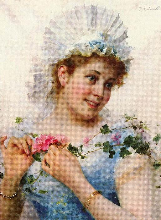 Девушка с розами. Федерико Андреотти