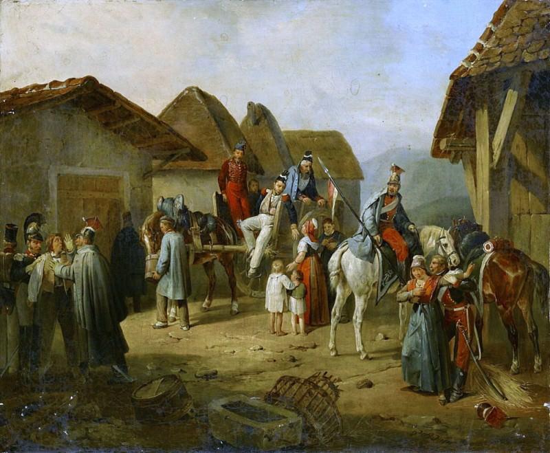 Австрийская кавалерия отдыхает в деревне. Альбрехт Адам
