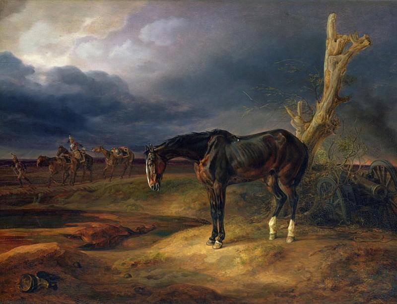 Лошадь без наездника на поле битвы в Мошайске в 1812 году. Альбрехт Адам