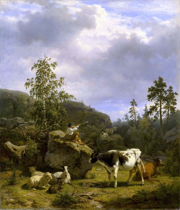 Forest Landscape with a Shepherd Boy and Cattle. Nils Andersson