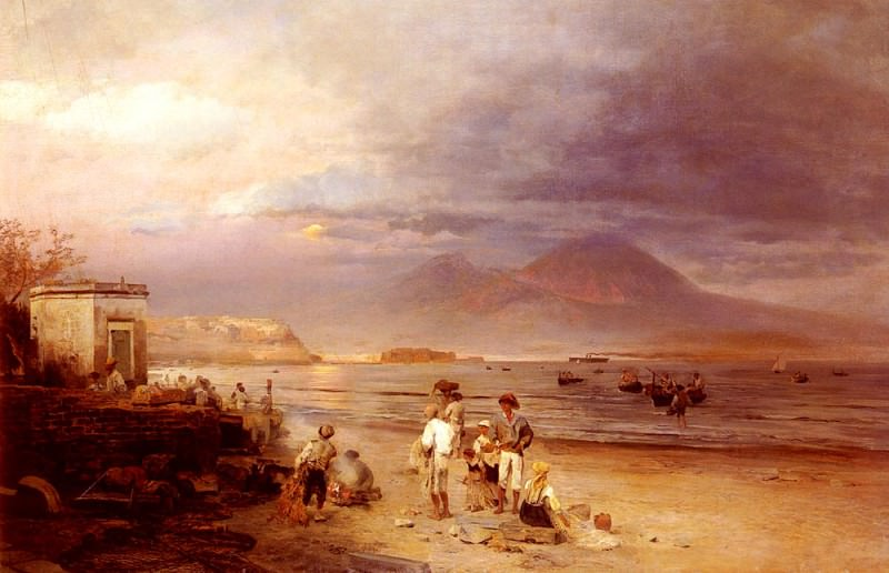 Fishermen With The Bay Of Naples And Vesuvius Beyond. Oswald Achenbach