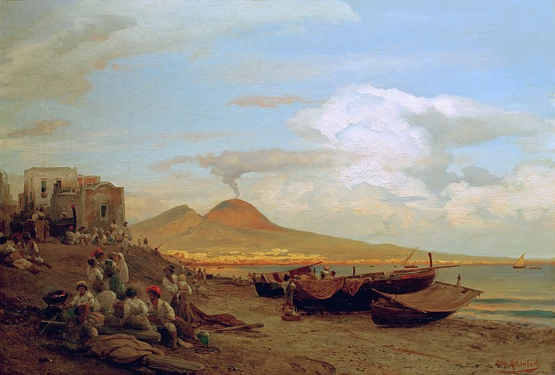 View of the Bay of Naples with people on the beach. Oswald Achenbach