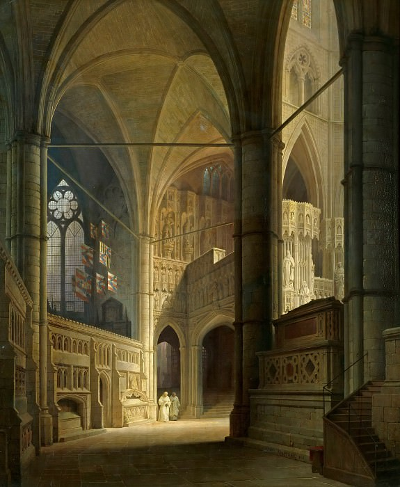 Interior of Westminster Abbey. Max Emanuel Ainmiller
