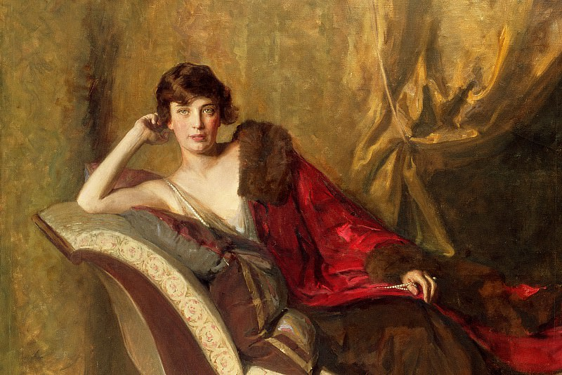 Countess Michael Karolyi reclining on a divan (detail). John Quincy Adams