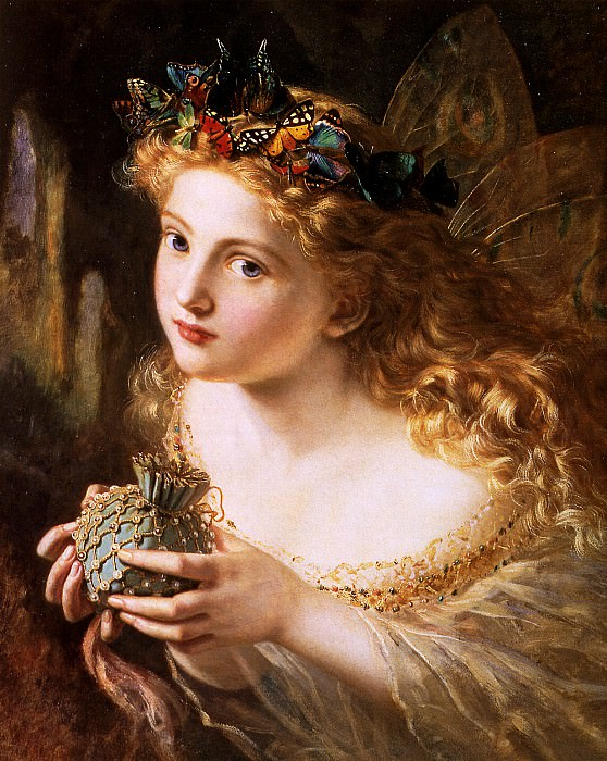 Take the Fair Face of Woman, and Gently Suspending, With Butterflies Flowers. Sophie Gengembre Anderson
