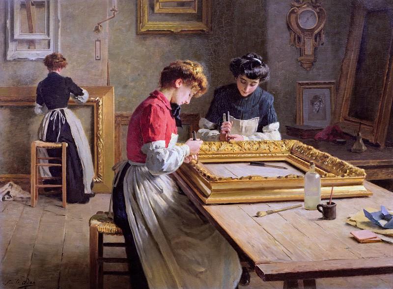Interior of a Frame Gilding Workshop. Louis Emile Adan