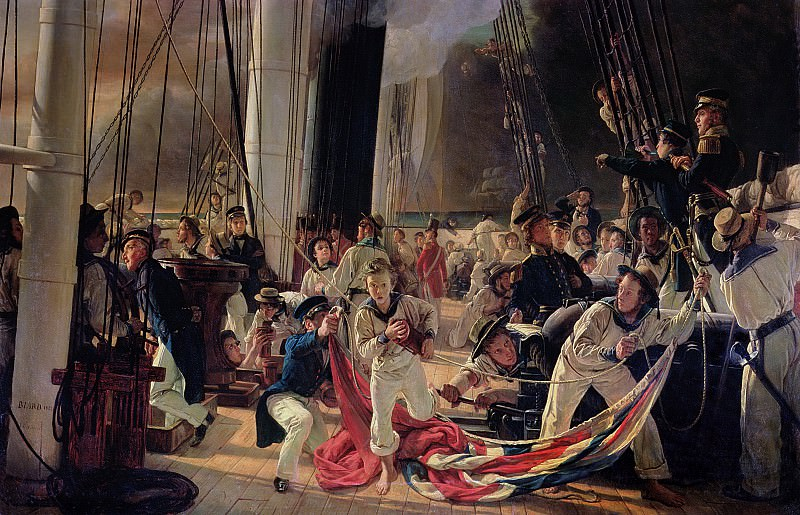 On the deck during a sea battle, 1855. Francois Auguste Biard