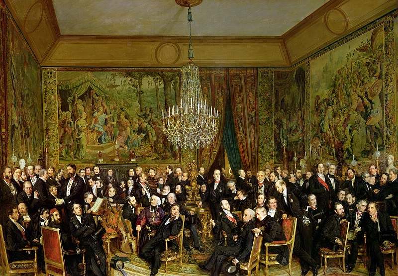 The Salon of Alfred Emilien, Comte de Nieuwerkerke (1811-92) at the Louvre, 1855. Francois Auguste Biard
