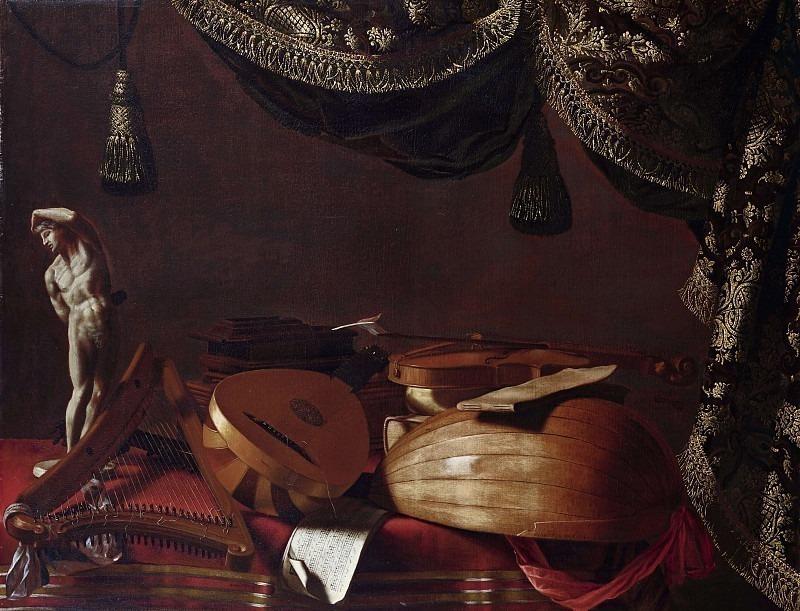 Музыкальные инструменты и статуэтка. Эваристо Баскенис