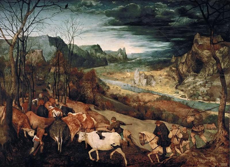 Brueghel, Pieter The Elder -- Возвращение стада - ноябрь 1565, 117х159,. Kunsthistorisches Museum (The Return of the Herd)