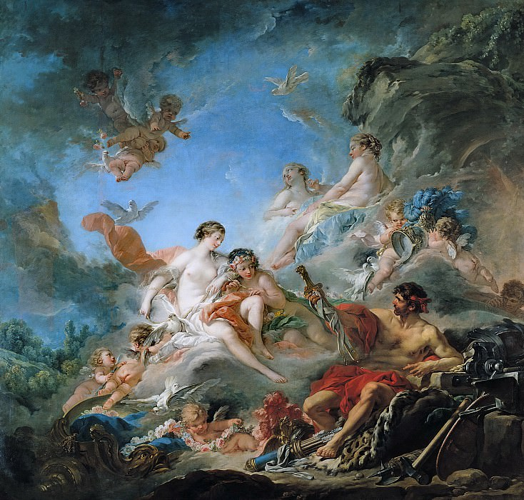 The Forge of Vulcan (Vulcan presenting arms for Aeneas to Venus). Francois Boucher