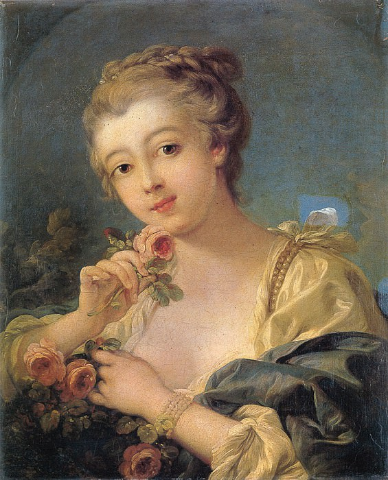 Young Woman with a Roses. Francois Boucher
