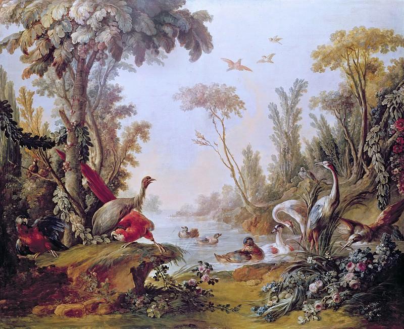 Озеро с гусями, аистами, попугаями и цаплями (Панно из салона Жиля Демарто). Франсуа Буше