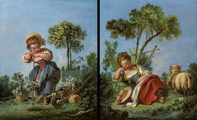 The Little Gardener and The Little Shepherdess. Francois Boucher