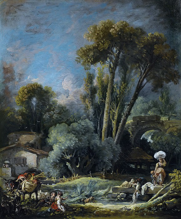 Pastoral Landscape With Washerwomen And A Couple On A River Bank. Francois Boucher