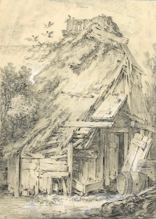 Cottage in the woods, abandoned. Francois Boucher