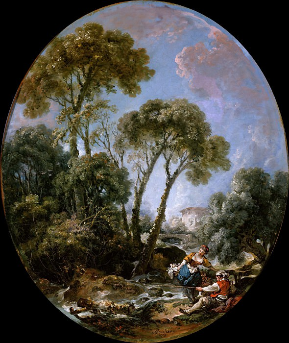 Landscape with Fisherman and a Young Woman. Francois Boucher