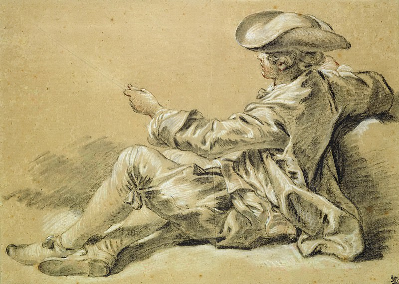 Small boy with a fishing rod. Francois Boucher