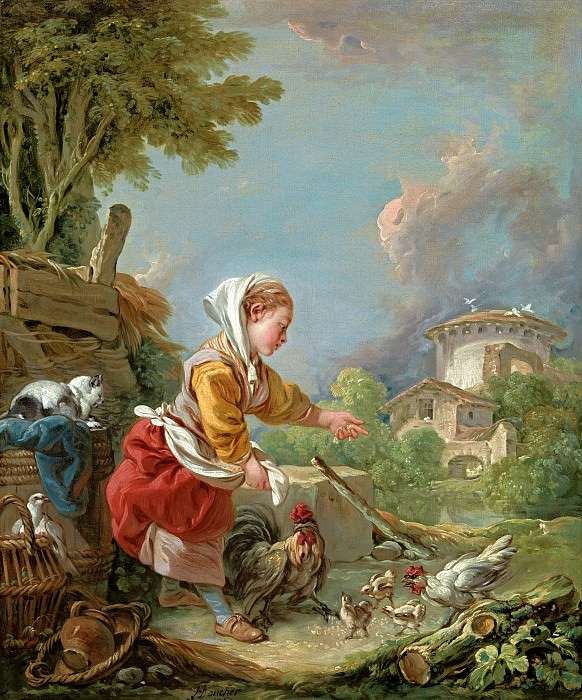 A young girl feeding poultry. Francois Boucher