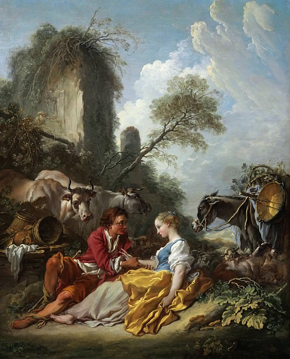 A pastoral landscape with a shepherd and shepherdess. Francois Boucher