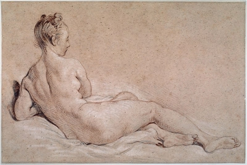 Reclining female nude seen from the back. Francois Boucher