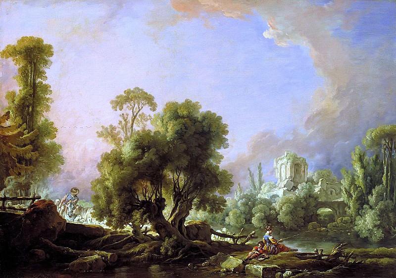 Idyllic Landscape with Woman Fishing. Francois Boucher