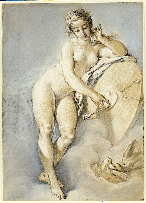 Venus standing, gesturing towards a heart on a target. Francois Boucher
