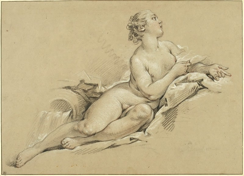 Reclining Nymph near an Urn. Francois Boucher