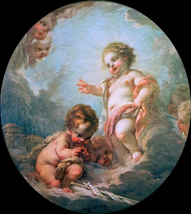 The boy Jesus blessing John the Baptist. Francois Boucher