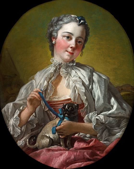 A young lady holding a pug dog. Francois Boucher